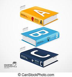 infographic, zijn, concept, illustratie, globe, moderne, /, gebruikt, vector, groenteblik, mal, infographics, banieren, spandoek, boek