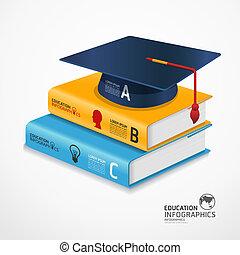 infographic, zijn, concept, illustratie, pet, moderne, afgestudeerd, vector, gebruikt, /, mal, infographics, banieren, spandoek, boek, groenteblik