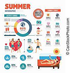 infographic, zomer, concept, illustratie, vector, ontwerp, mal