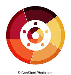 InfographicInfographic Pie-chart template with 5 options in orange spectrum