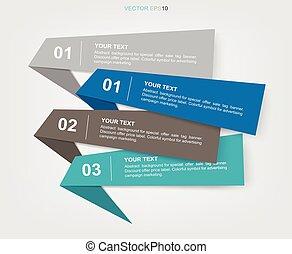 infographics, étiquette, papier, fond, business, template., bannière