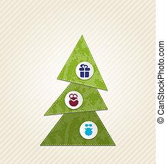 infographics, スタイル, 木, クリスマス, 最小である