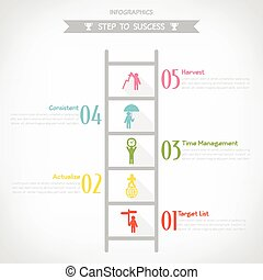 infographics, ステップ, ベクトル, イラスト, 成功