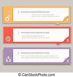 infographics, テンプレート, 旗, 横, 番号を付けられる, デザイン