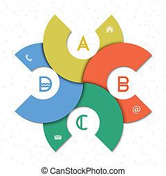 infographics, デザイン, ラウンド, テンプレート, 創造的