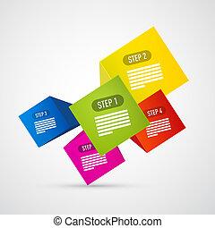 infographics, ベクトル, ステップ, 進歩, チュートリアル