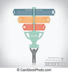 infographics, ベクトル, eps10, ビジネス, 成功