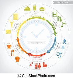 infographics, ベクトル, eps10, 日, 仕事