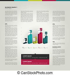 infographics, ページ, layout.