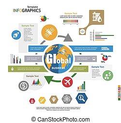 infographics, 世界的である, 現代 ビジネス, テンプレート