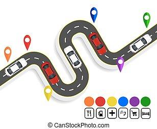 infographics., 標記, navigator., 旋緊道路, 由于, markings., cars.,...