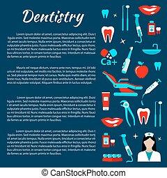infographics, 歯医者の, 歯科医術, 心配, アイコン