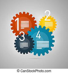 infographics, 矢量, 步驟, 進展, 指導課