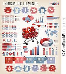 infographics., 買い物, vector.