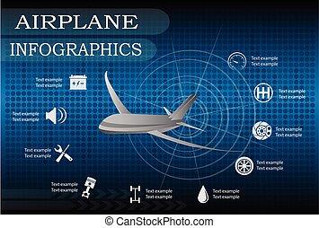 infographics, 飛行機, ベクトル, illustration.