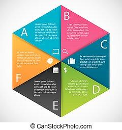 infographics, 육각형, 종이
