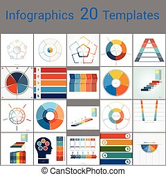 Infographics 20 Templates, text area on five position. - ...