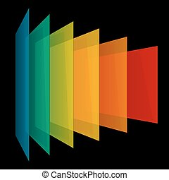 Infographics 3d perspective rainbow transparent rectangles on black background