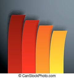 Infographics 4 options yellow, orange and red paper stripe banners with realistic shadows on dark grey background