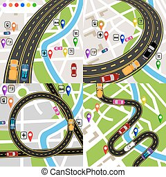 Infographics. A set of stylized road plans. Maps of the city. Movement of vehicles. The path is indicated by the navigator. illustration