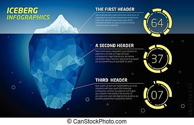 infographics., agua de mar, hielo, iceberg