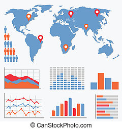 Infographics and statistics icons and world map