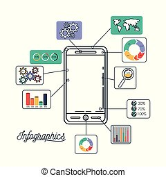 infographics and statistics with smartphone