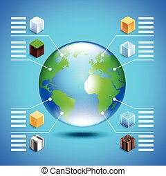 infographics, aproximadamente, recursos naturais, com, globo terra, e, pequeno, cubos