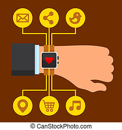 Infographics Arm with a Smartwatch in Flat Design Style. ...