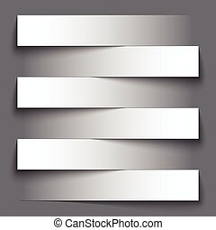 Infographics blank paper stripe banners with shadows on dark...