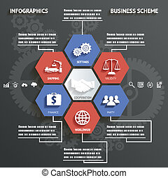 Infographics Business Scheme with Icons Abstract Background Vector Illustration