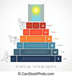 Infographics businessman steps up ladders template six...