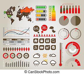 infographics., carte terre, et, différent, diagrammes, et,...