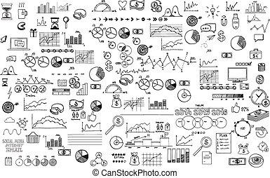 infographics, colección, mano, dibujado, garabato, bosquejo, empresa / negocio, ecomomic, finanzas, elementos