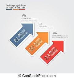 infographics, com, arrows., vetorial, ilustração