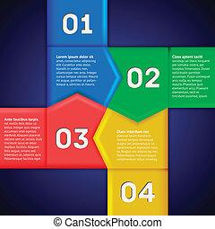 infographics, com, quadrado, de, numerado, ponteiros