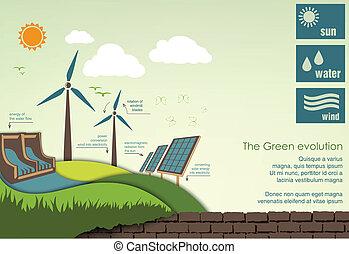 infographics, concept, wereld, greening