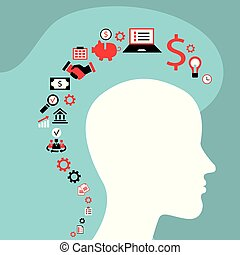 Infographics concept with head profile, brain, gears and business icons