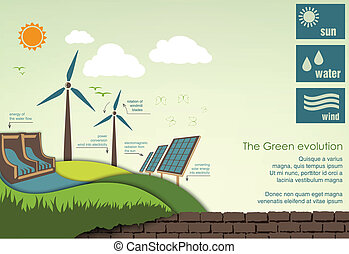 infographics, concepto, mundo, greening