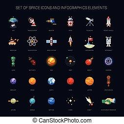 infographics, conjunto, espacio, elementos, iconos