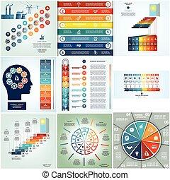 infographics, cyclic, lenyomtat, nyolc, és, kilenc, helyek