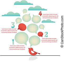 infographics, de, pássaro, ligado, um, fio