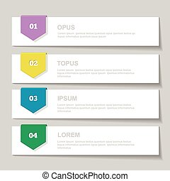 Infographics Design template. Numbered banners, horizontal cutout lines for graphic or website, presentation and chart Vector illustration
