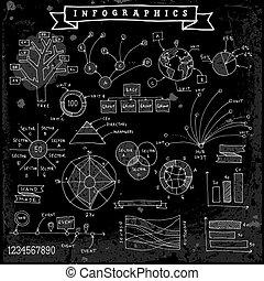 infographics, dessiné, éléments, conception, main
