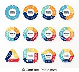 infographics, diagram, koło, strzały, graph.