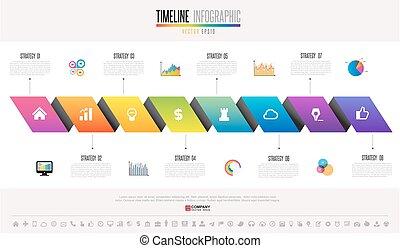 infographics, diseño, timeline, plantilla