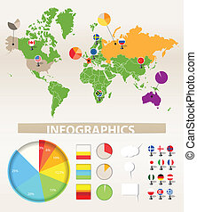 Earth map and different chart - Infographics. Earth map and...
