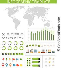 Infographics. Earth map and different charts and icons