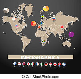 Infographics. Earth map with flags of different countries,...