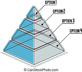 Infographics element, 3d layered pyramid, vector illustration.